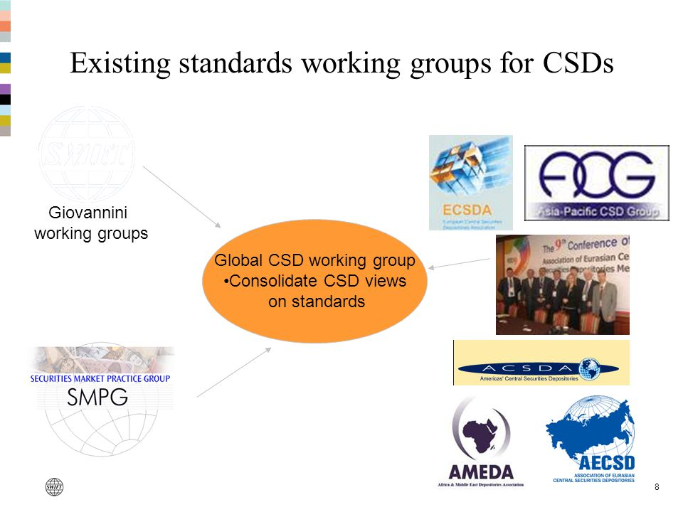 8 Existing standards working groups for CSDs Giovannini working groups Global CSD working group Consolidate CSD views on standards