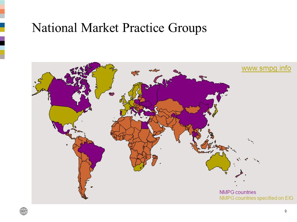 9 National Market Practice Groups www.smpg.info NMPG countries NMPG countries specified on EIG