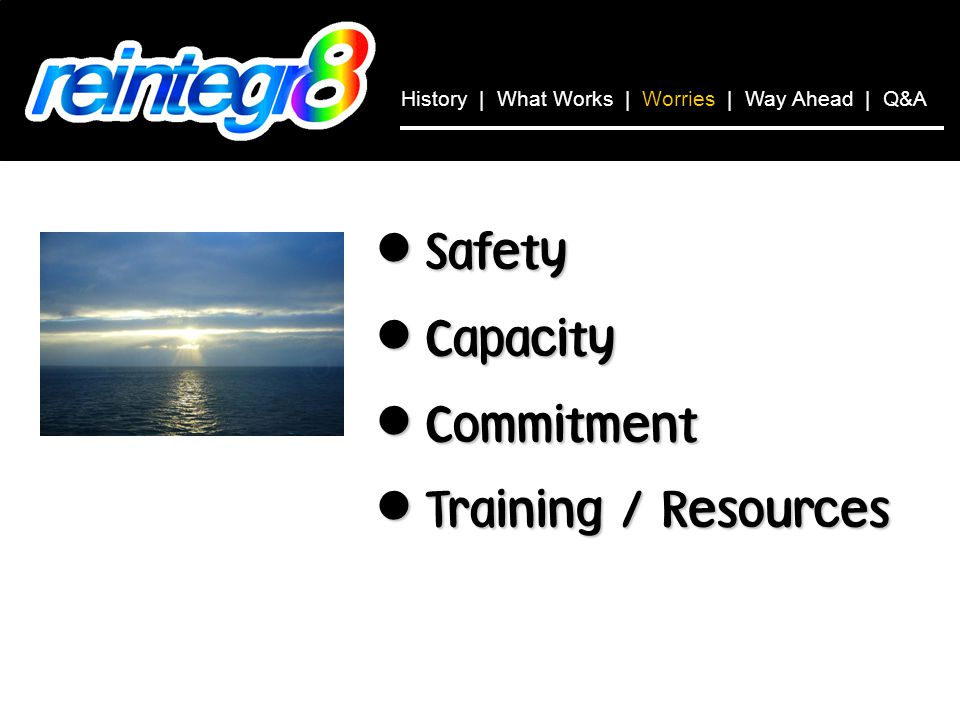 Safety Safety Capacity Capacity Commitment Commitment Training / Resources Training / Resources History | What Works | Worries | Way Ahead | Q&A