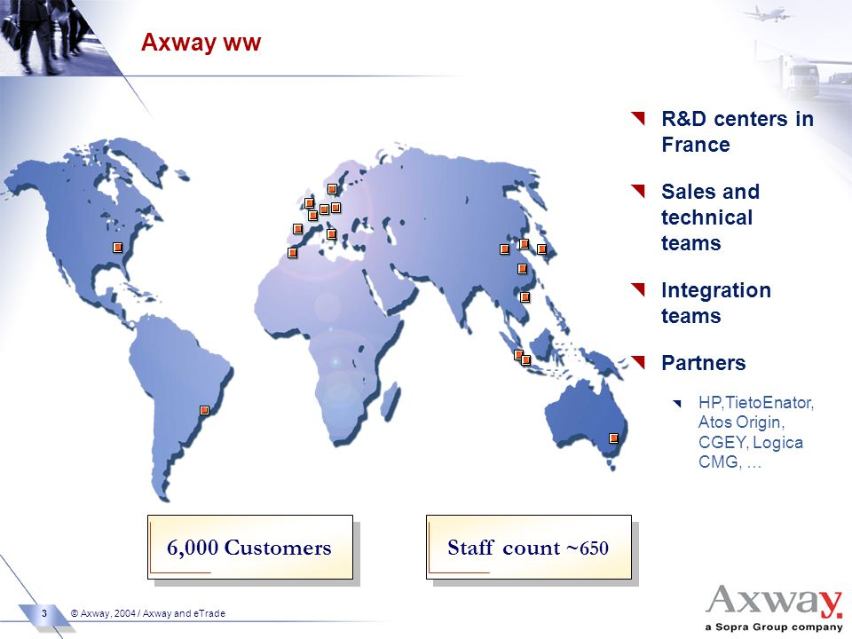 3 © Axway, 2004 / Axway and eTrade Axway ww 6,000 Customers  R&D centers in France  Sales and technical teams  Integration teams  Partners  HP,TietoEnator, Atos Origin, CGEY, Logica CMG, … Staff count ~650