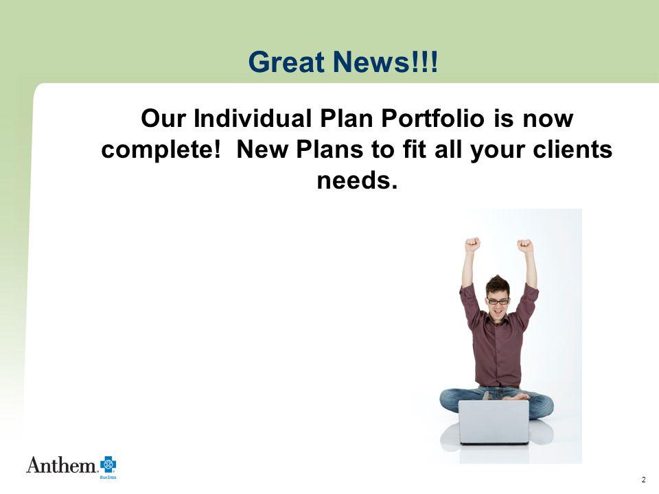 3 New PPACA compliant plans !!!.