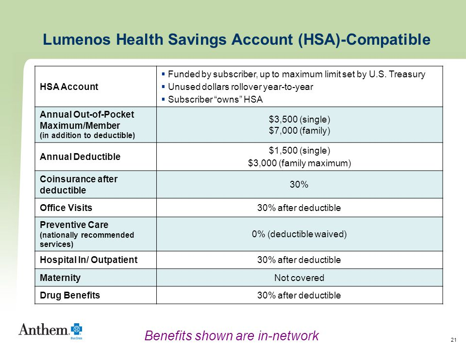 21 HSA Account  Funded by subscriber, up to maximum limit set by U.S.