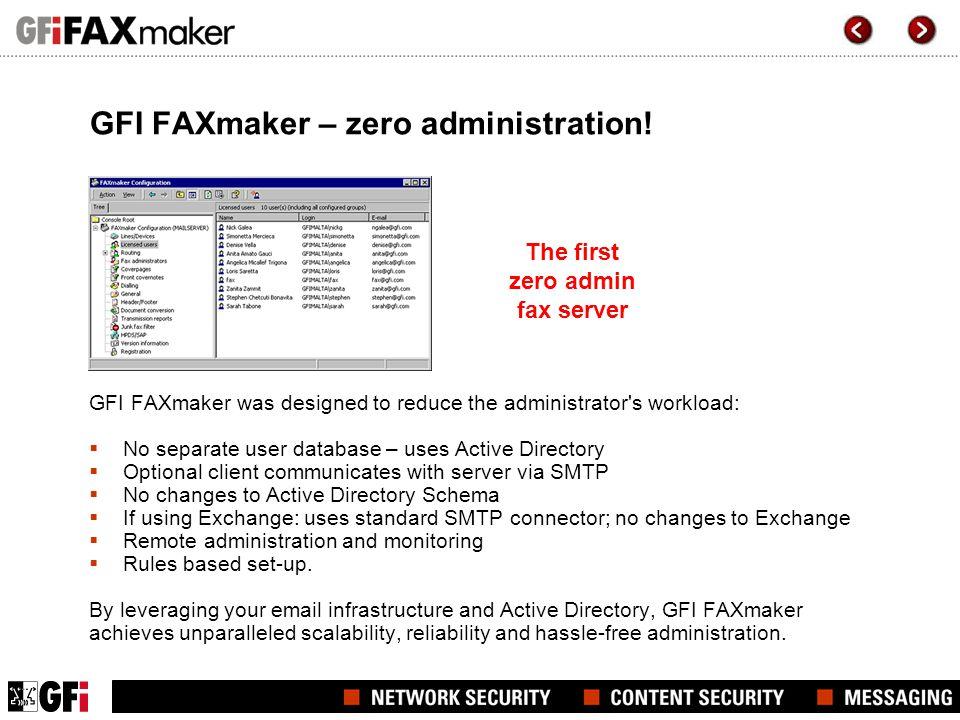 GFI FAXmaker – zero administration.