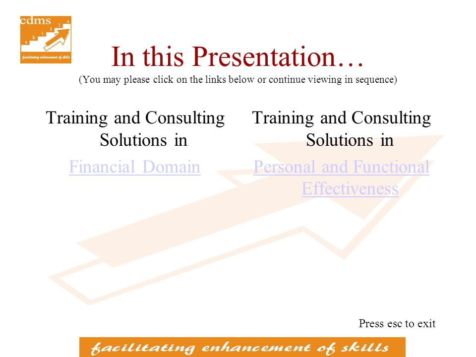 Training Programmes in Financial Domain conducted for IT / BPO clients Banking in U.S., U.K., German and Asia Pacific Regions –Retail banking –Wholesale banking –Mortgages –Wealth Management Presentation on Financial Domain