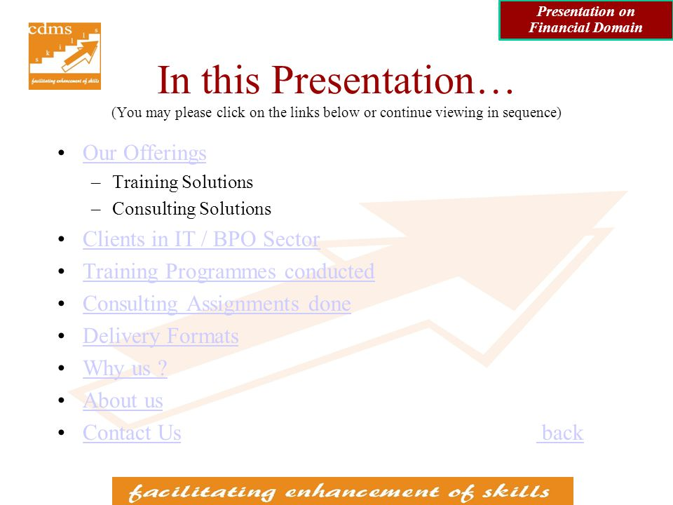 Training Programmes in Financial Domain conducted for IT / BPO clients (contd) Valuation of Securities –Equities –Fixed Income Securities Presentation on Financial Domain