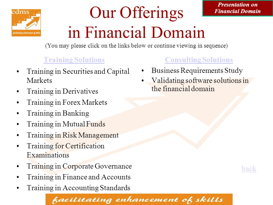 Training in Finance and Accounts Basics of Finance Advanced Finance Financial Accounting Cost Accounting Management Accounting Presentation on Financial Domain