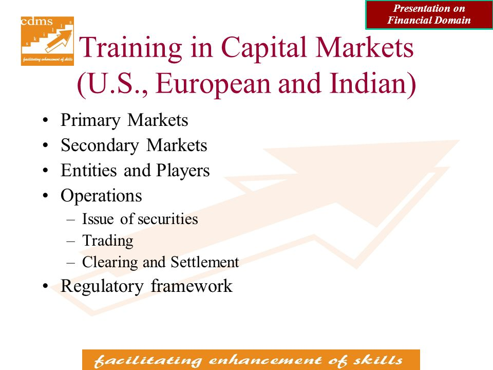 Consulting Assignments done in Financial Domain for IT / BPO Clients (contd) Consulting in Banking / Capital Markets Domain –Guiding and supporting a software development team in understanding Wealth Management requirements and processes of a bank in an European country Involved study of capital markets and working of stock exchanges in that country Involved study of investment avenues in that country for high networth investors Involved study of related regulations in that country back Presentation on Financial Domain
