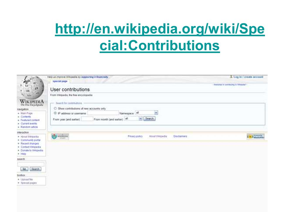 http://en.wikipedia.org/wiki/Spe cial:Contributions