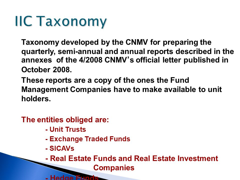 IIC Taxonomy Taxonomy developed by the CNMV for preparing the quarterly, semi-annual and annual reports described in the annexes of the 4/2008 CNMV ' s official letter published in October 2008.