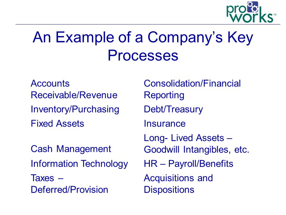 An Example of a Company's Key Processes Accounts Receivable/Revenue Consolidation/Financial Reporting Inventory/PurchasingDebt/Treasury Fixed AssetsInsurance Cash Management Long- Lived Assets – Goodwill Intangibles, etc.
