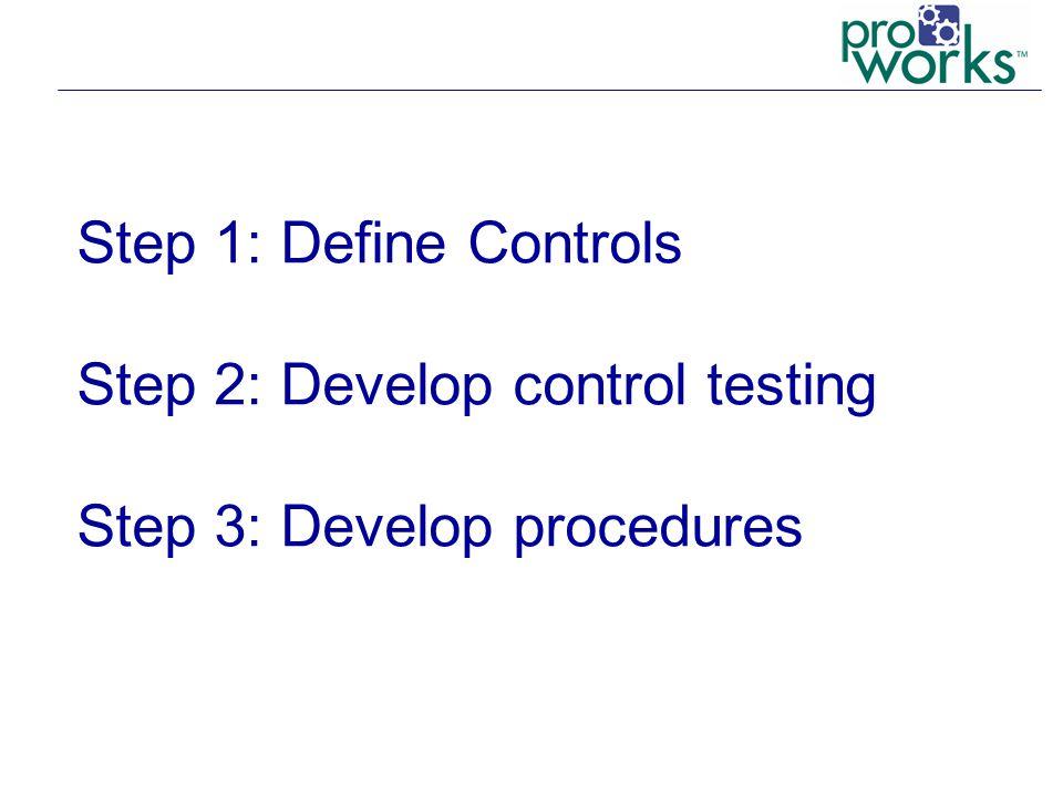 Step 1: Define Controls Step 2: Develop control testing Step 3: Develop procedures