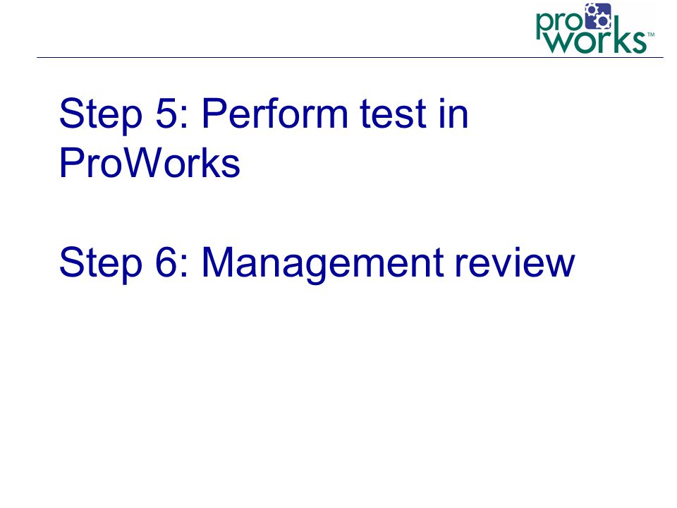 Step 5: Perform test in ProWorks Step 6: Management review