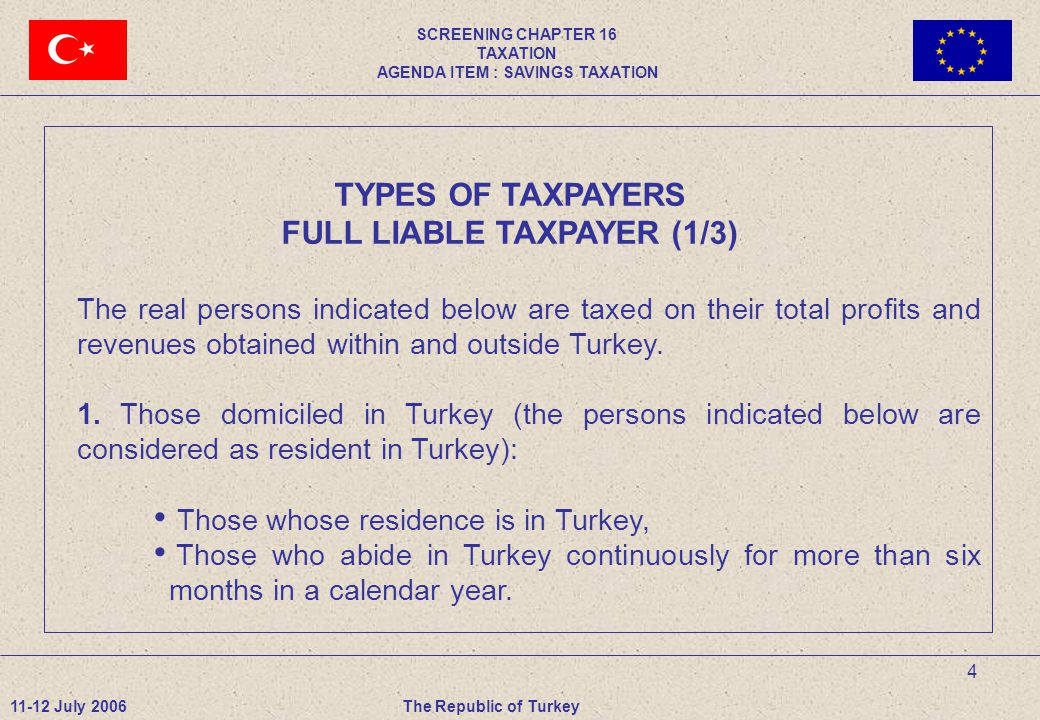 4 TYPES OF TAXPAYERS FULL LIABLE TAXPAYER (1/3) The real persons indicated below are taxed on their total profits and revenues obtained within and outside Turkey.