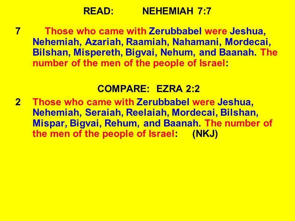 READ:NEHEMIAH 7:7 7Those who came with Zerubbabel were Jeshua, Nehemiah, Azariah, Raamiah, Nahamani, Mordecai, Bilshan, Mispereth, Bigvai, Nehum, and Baanah.