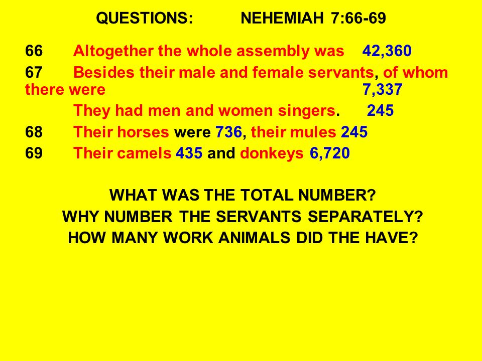 QUESTIONS:NEHEMIAH 7:66-69 66Altogether the whole assembly was 42,360 67Besides their male and female servants, of whom there were 7,337 They had men