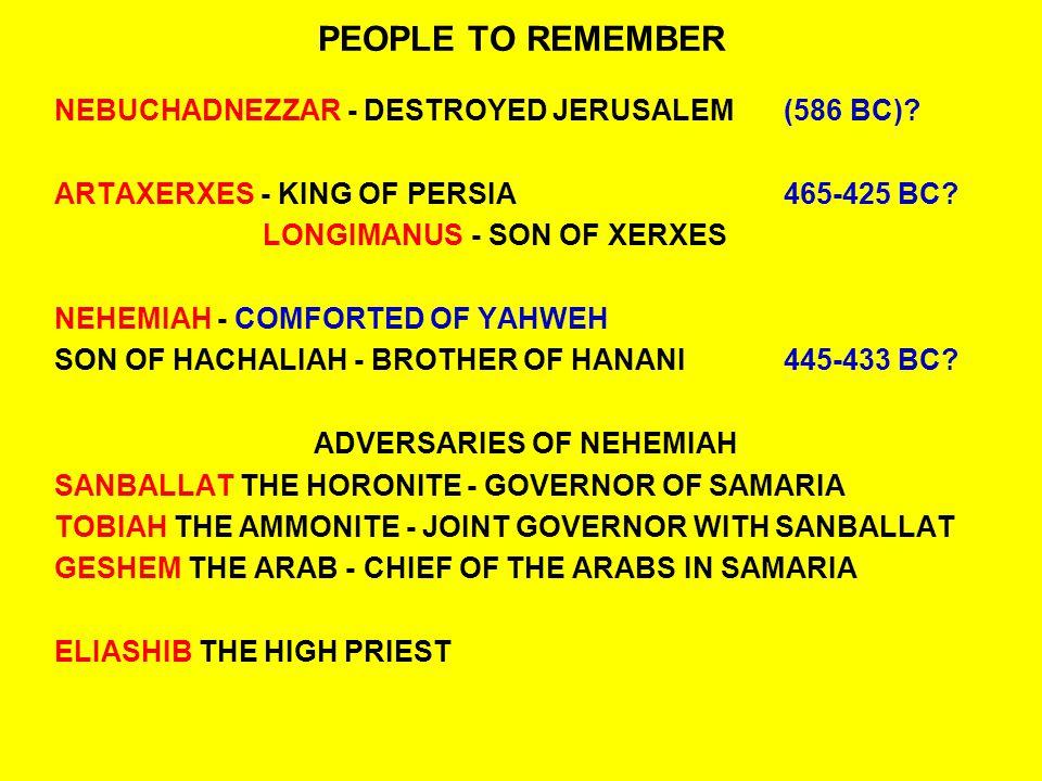 PEOPLE TO REMEMBER NEBUCHADNEZZAR - DESTROYED JERUSALEM(586 BC).
