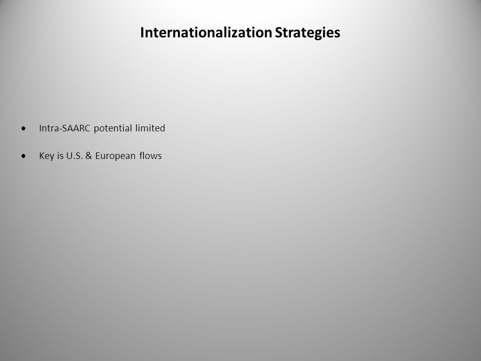 Internationalization Strategies  Intra-SAARC potential limited  Key is U.S. & European flows
