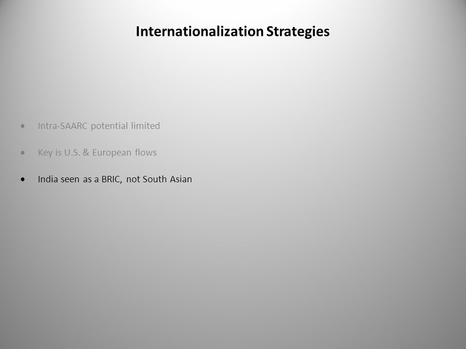 Internationalization Strategies  Intra-SAARC potential limited  Key is U.S.