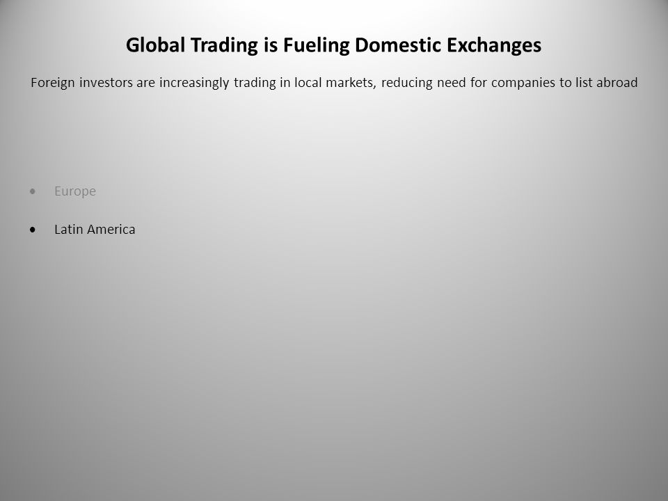 Global Trading is Fueling Domestic Exchanges  Europe  Latin America Foreign investors are increasingly trading in local markets, reducing need for companies to list abroad