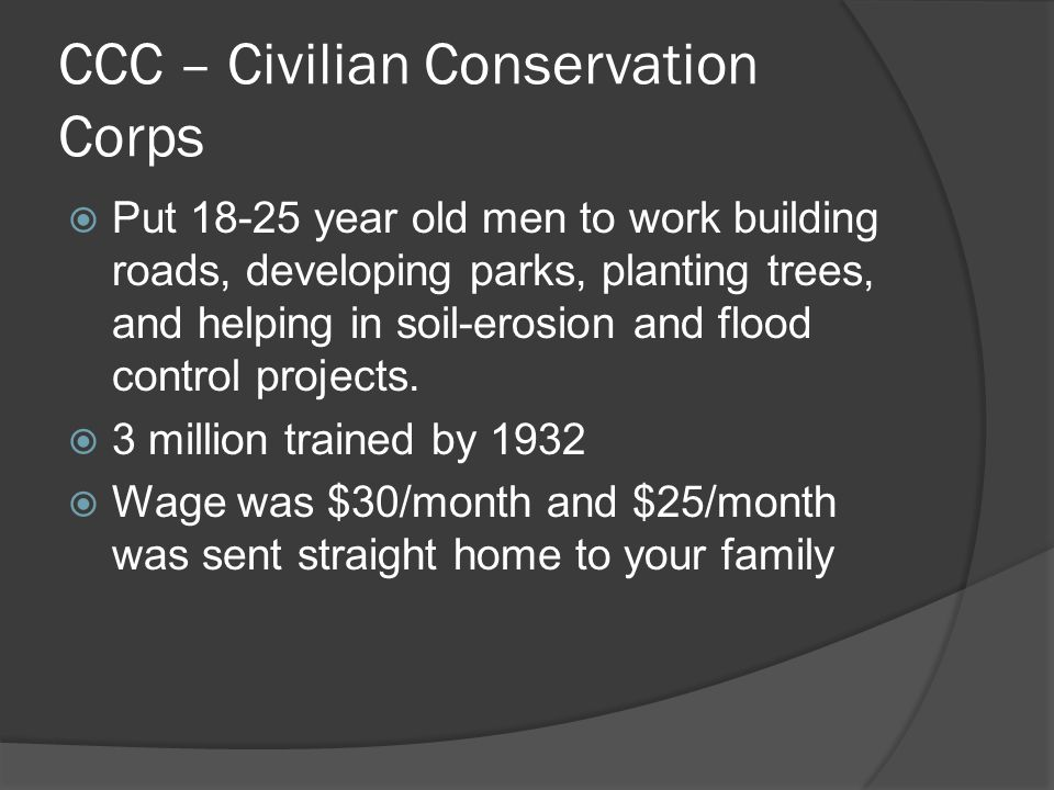 WPA (works progress admin)  Spent $11 billion dollars to create 8 millions jobs for mostly unskilled workers.