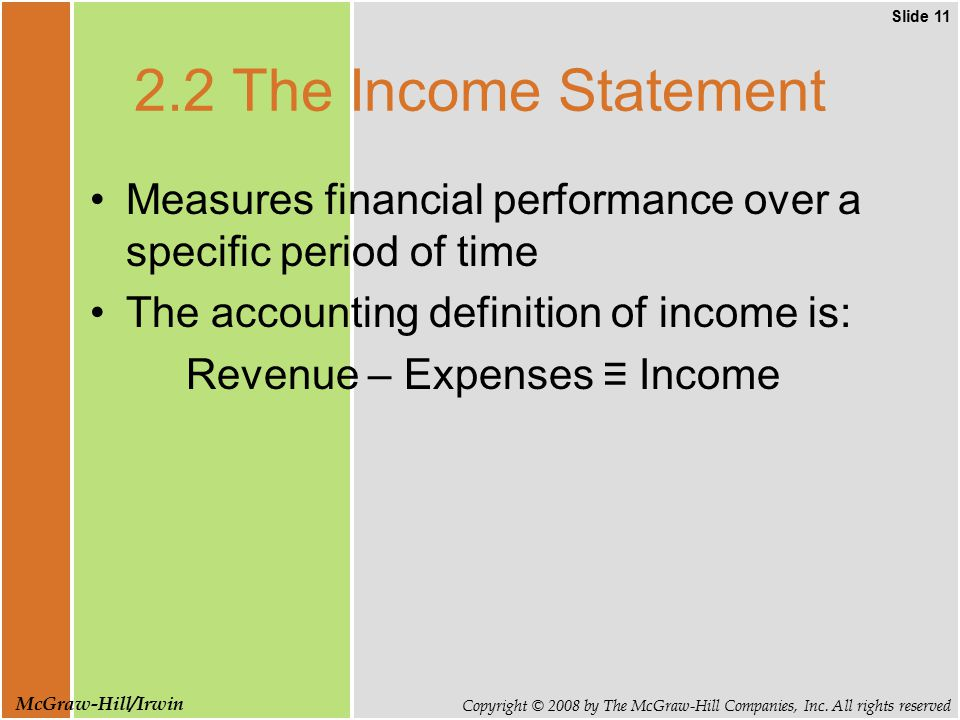 Slide 11 Copyright © 2008 by The McGraw-Hill Companies, Inc. All rights reserved McGraw-Hill/Irwin 2.2 The Income Statement Measures financial perform