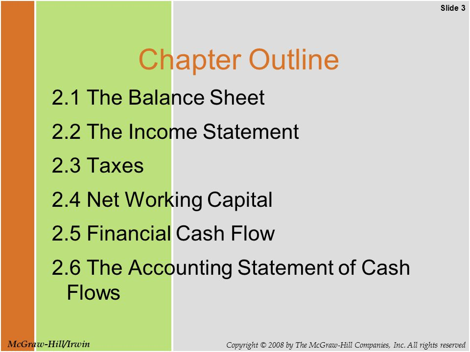 Slide 3 Copyright © 2008 by The McGraw-Hill Companies, Inc. All rights reserved McGraw-Hill/Irwin Chapter Outline 2.1 The Balance Sheet 2.2 The Income