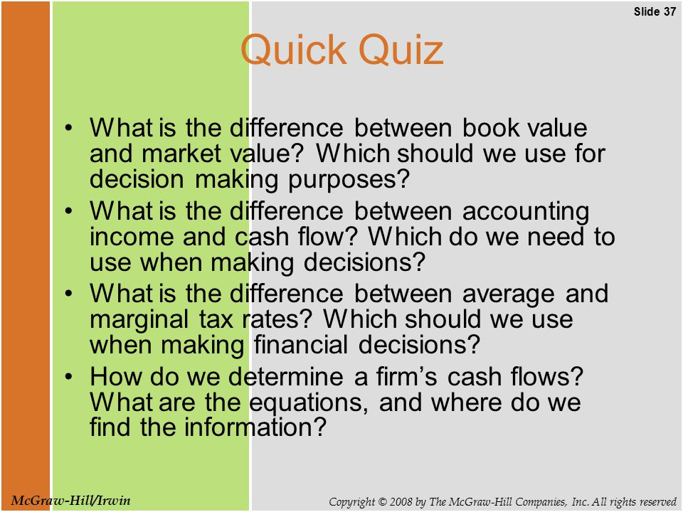 Slide 37 Copyright © 2008 by The McGraw-Hill Companies, Inc. All rights reserved McGraw-Hill/Irwin Quick Quiz What is the difference between book valu