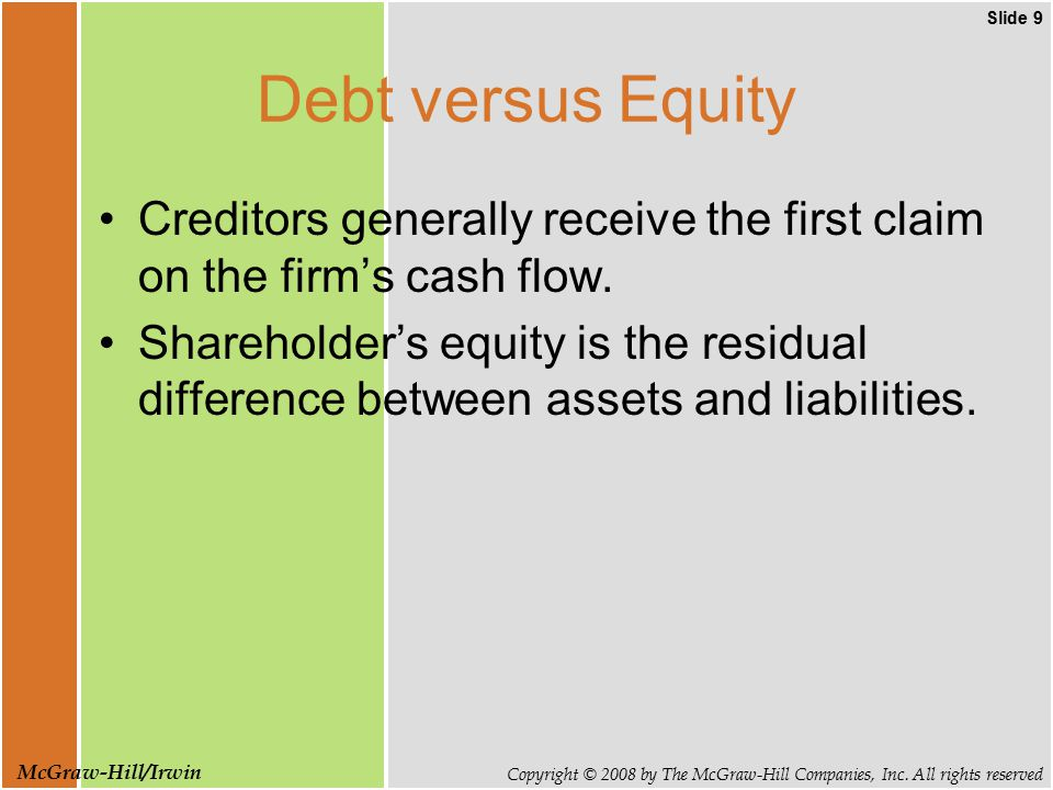 Slide 9 Copyright © 2008 by The McGraw-Hill Companies, Inc. All rights reserved McGraw-Hill/Irwin Debt versus Equity Creditors generally receive the f