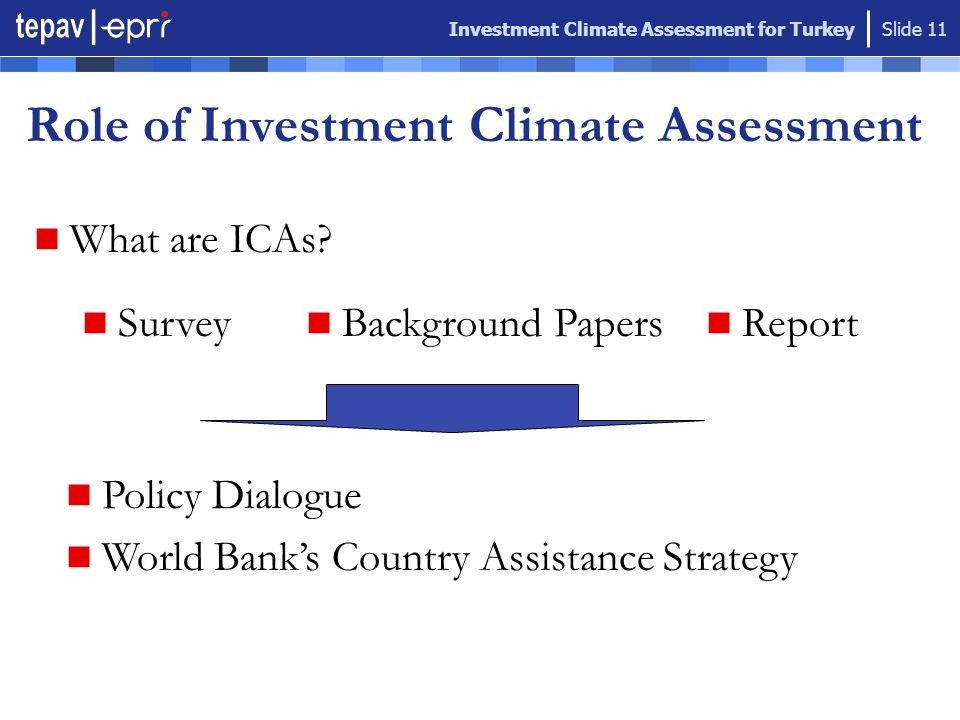 Investment Climate Assessment for Turkey Slide 11 Role of Investment Climate Assessment What are ICAs.