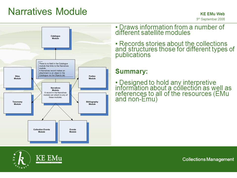 Collections Management 2 September 20059 th September 2008 KE EMu Web Narratives Module Draws information from a number of different satellite modules Records stories about the collections and structures those for different types of publications Summary: Designed to hold any interpretive information about a collection as well as references to all of the resources (EMu and non-Emu)