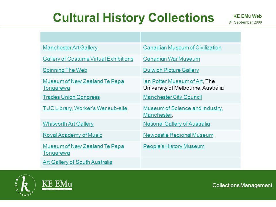 Collections Management 2 September 2005 Hull Museums Collection 9 th September 2008 KE EMu Web Multiple choice quiz added: Adds fun to the site Answers are on website More can be added very easily