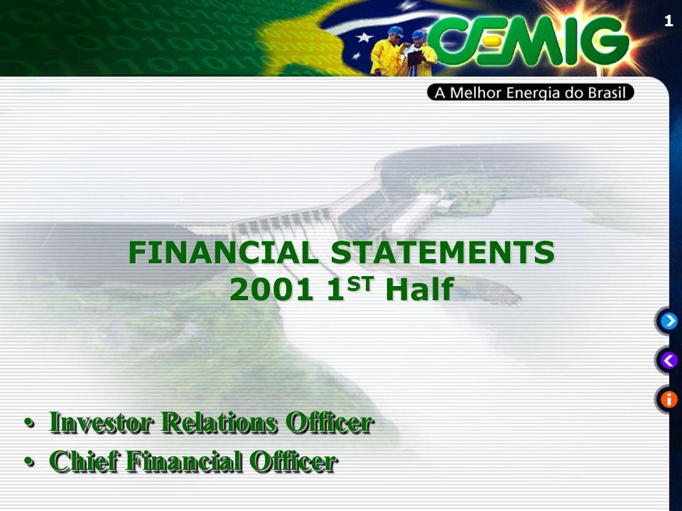 1 FINANCIAL STATEMENTS 2001 1 ST Half Investor Relations OfficerInvestor Relations Officer Chief Financial OfficerChief Financial Officer Investor Rel