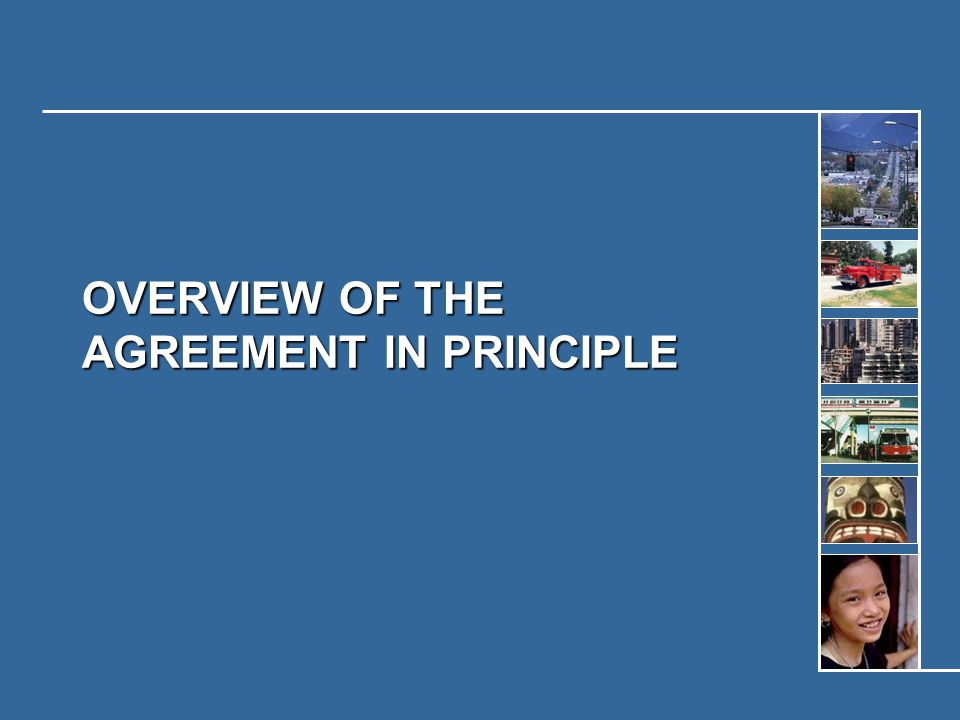 OVERVIEW OF THE AGREEMENT IN PRINCIPLE