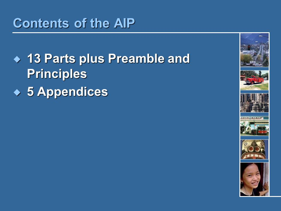 Contents of the AIP  13 Parts plus Preamble and Principles  5 Appendices
