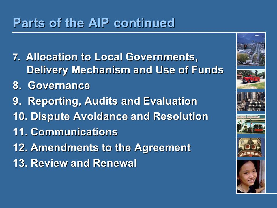Parts of the AIP continued 7.