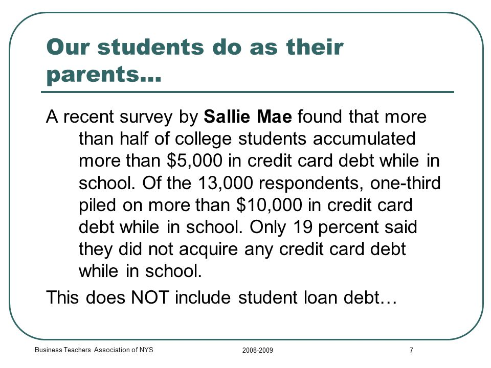 Business Teachers Association of NYS 2008-2009 7 Our students do as their parents… A recent survey by Sallie Mae found that more than half of college students accumulated more than $5,000 in credit card debt while in school.