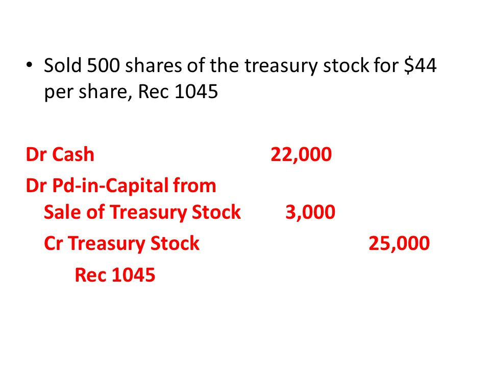 Sold 500 shares of the treasury stock for $44 per share, Rec 1045 Dr Cash22,000 Dr Pd-in-Capital from Sale of Treasury Stock 3,000 Cr Treasury Stock25