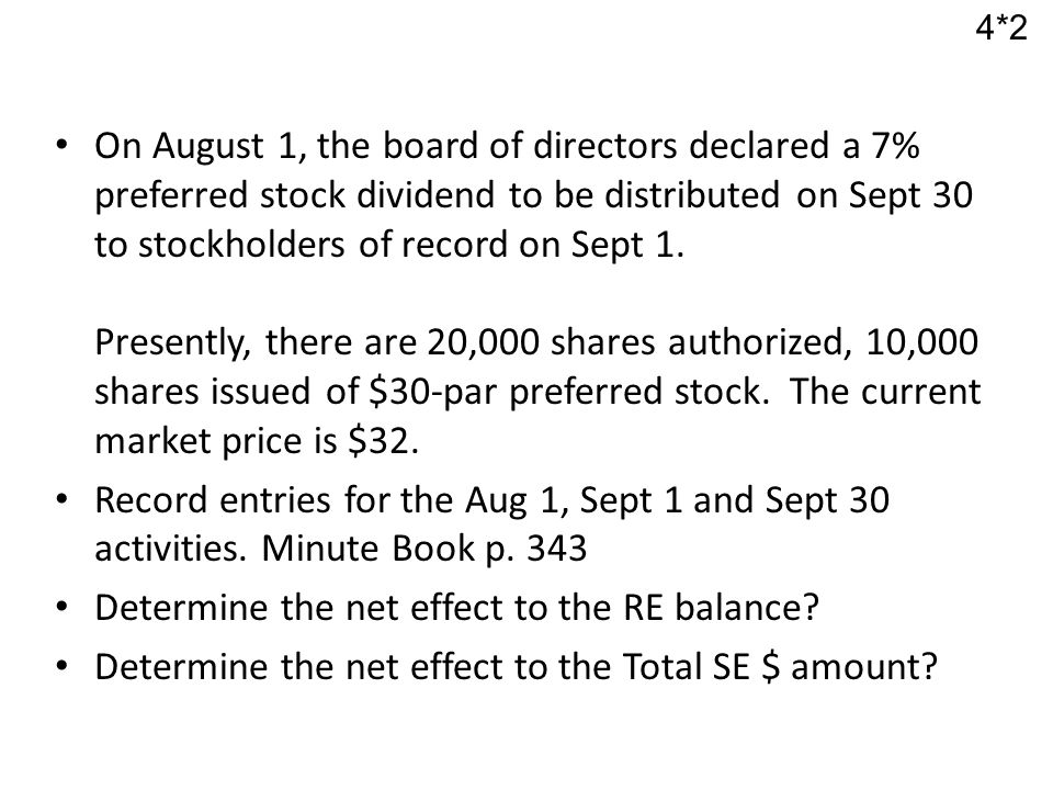 On August 1, the board of directors declared a 7% preferred stock dividend to be distributed on Sept 30 to stockholders of record on Sept 1.
