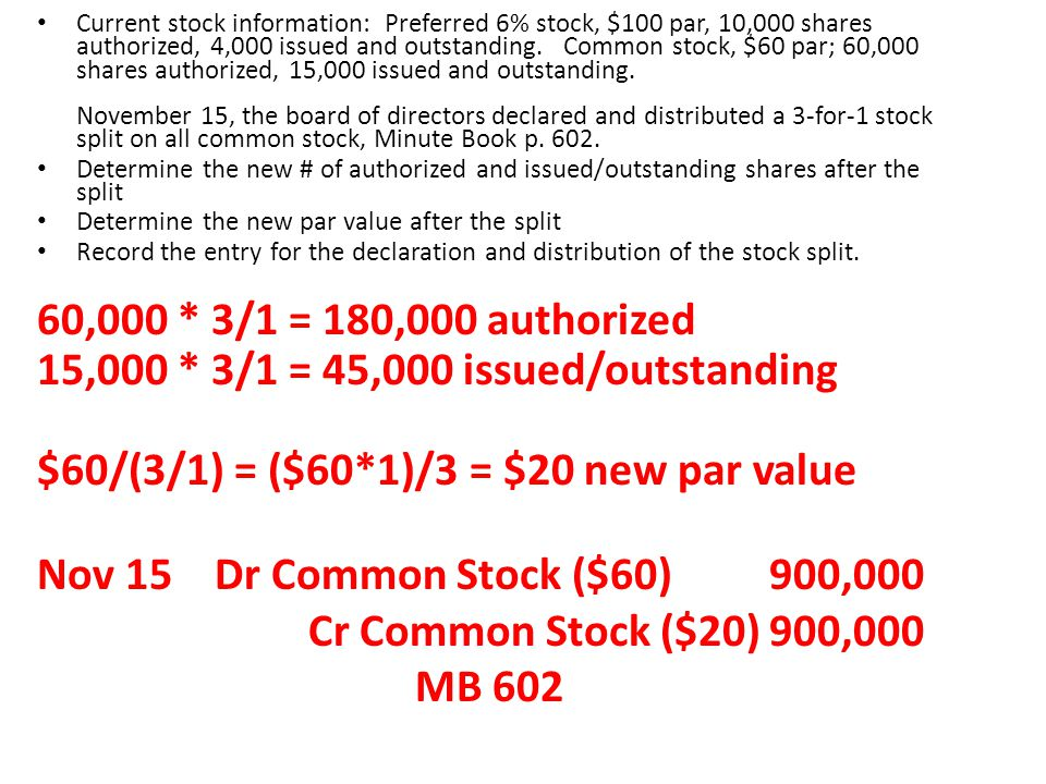 Current stock information: Preferred 6% stock, $100 par, 10,000 shares authorized, 4,000 issued and outstanding. Common stock, $60 par; 60,000 shares