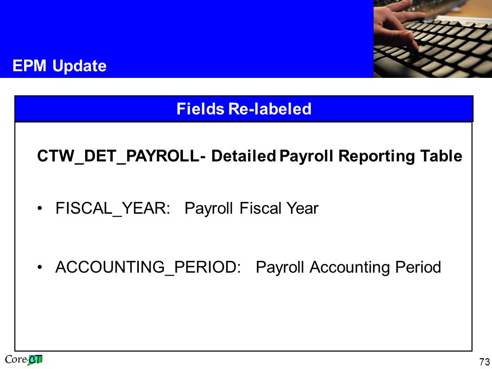 73 EPM Update Fields Re-labeled CTW_DET_PAYROLL- Detailed Payroll Reporting Table FISCAL_YEAR:Payroll Fiscal Year ACCOUNTING_PERIOD: Payroll Accounting Period