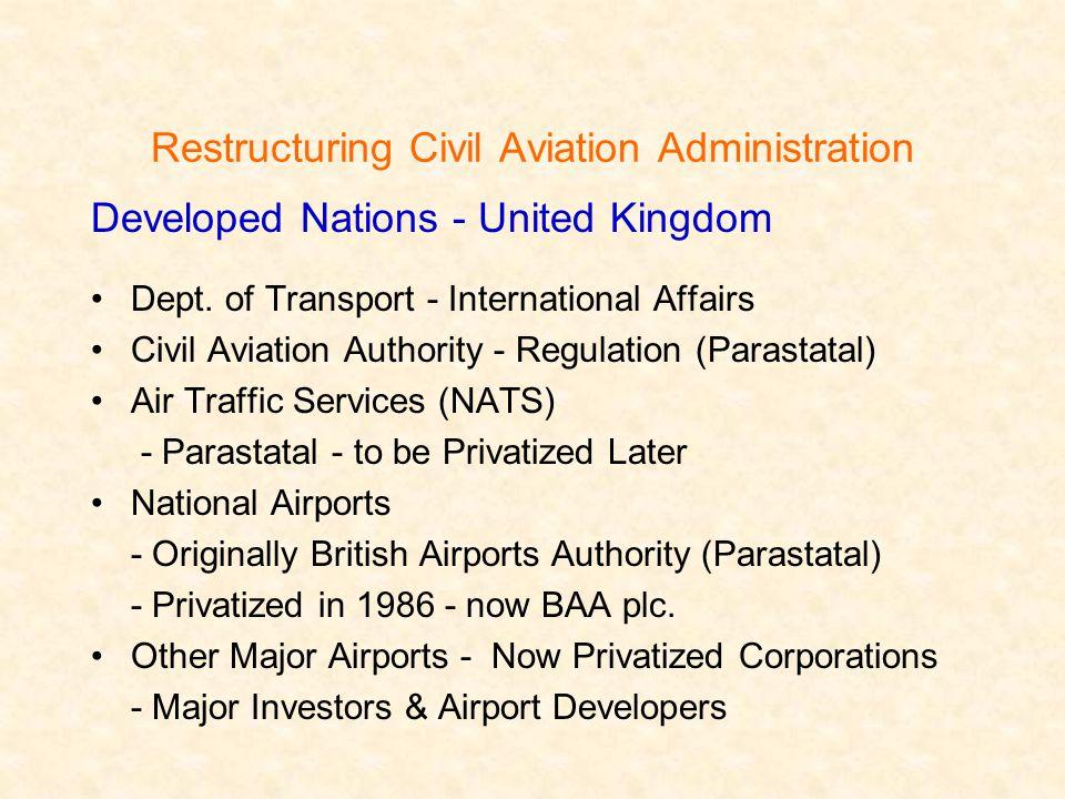 Restructuring Civil Aviation Administration Developed Nations - United Kingdom Dept.