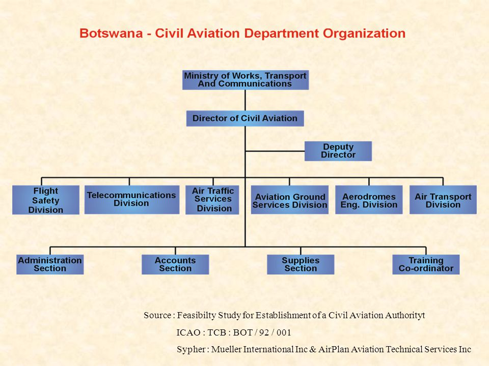 Source : Feasibilty Study for Establishment of a Civil Aviation Authorityt ICAO : TCB : BOT / 92 / 001 Sypher : Mueller International Inc & AirPlan Aviation Technical Services Inc