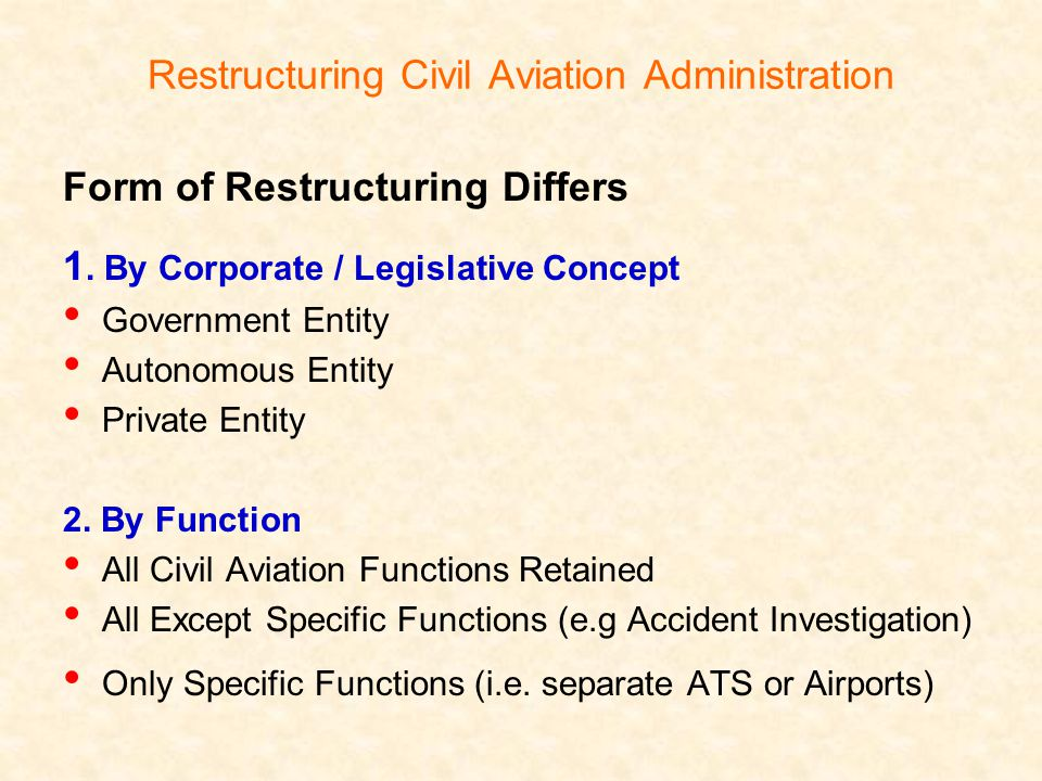 Restructuring Civil Aviation Administration Form of Restructuring Differs 1.
