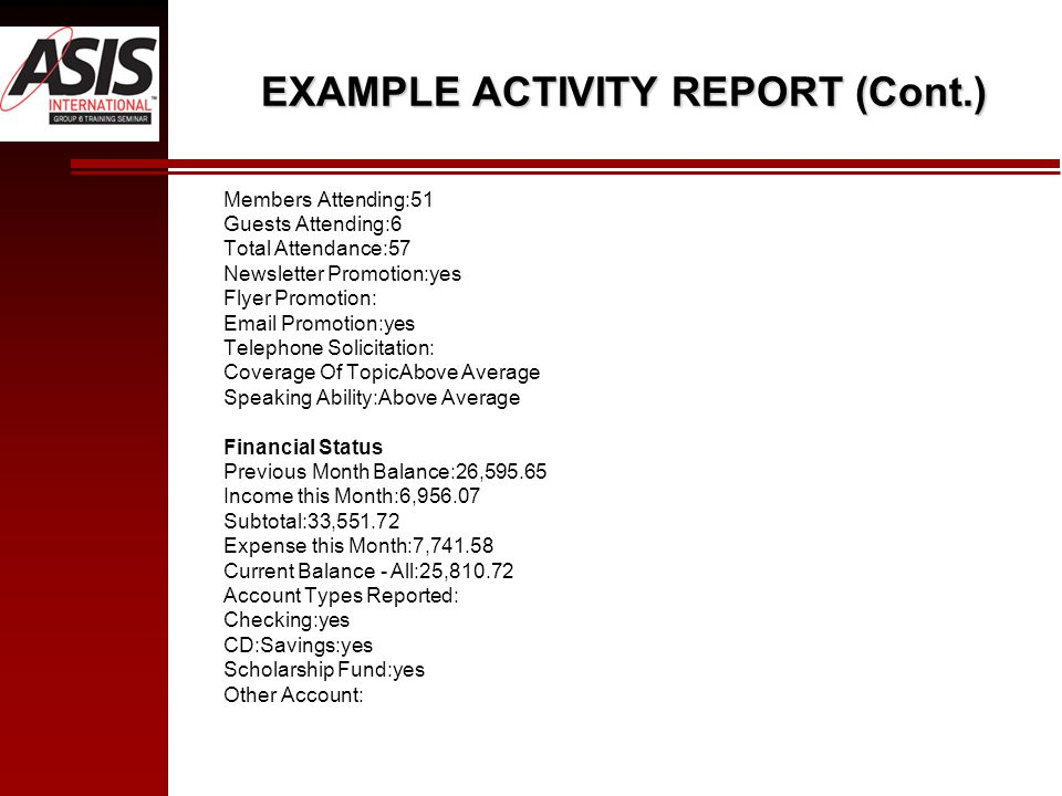 EXAMPLE ACTIVITY REPORT (Cont.) Members Attending:51 Guests Attending:6 Total Attendance:57 Newsletter Promotion:yes Flyer Promotion: Email Promotion: