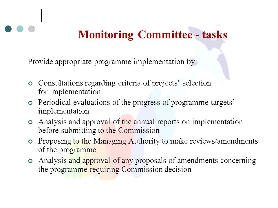 Monitoring Committee - tasks Provide appropriate programme implementation by: Consultations regarding criteria of projects' selection for implementati