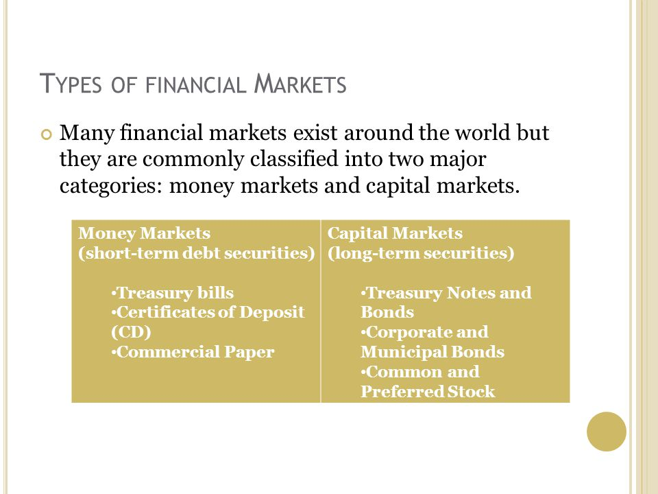 T YPES OF FINANCIAL M ARKETS Many financial markets exist around the world but they are commonly classified into two major categories: money markets and capital markets.