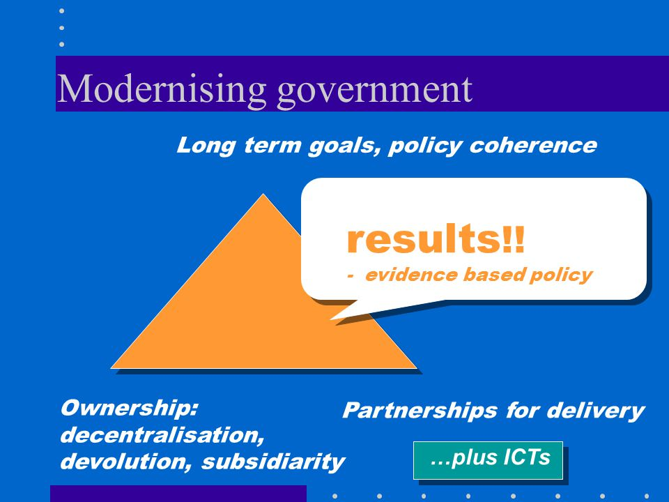 Modernising government Long term goals, policy coherence Ownership: decentralisation, devolution, subsidiarity Partnerships for delivery results !.