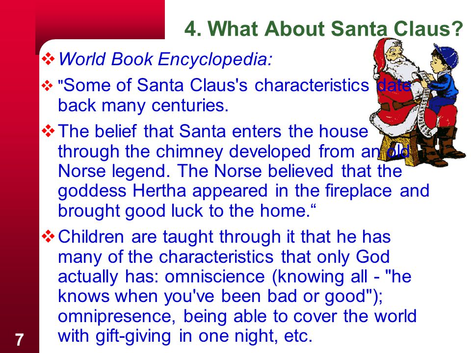 8  The Catholic Pocket Dictionary of Saints Says about Santa Claus: His popularity, already great, increased enormously in the West when his relics were brought to Bari in 1087, and his shrine was one of the great pilgrimage centers of medieval Europe.  AustralianMedia.com Family Network:  St Nicholas was a Christian priest, who later became a bishop.