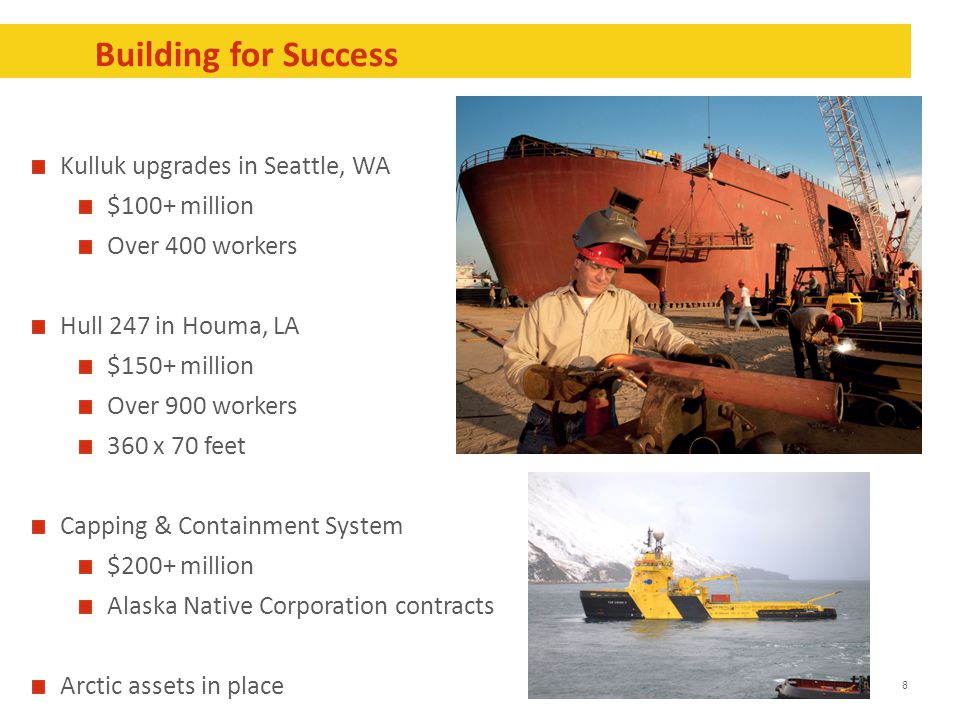 8 Building for Success Kulluk upgrades in Seattle, WA $100+ million Over 400 workers Hull 247 in Houma, LA $150+ million Over 900 workers 360 x 70 fee