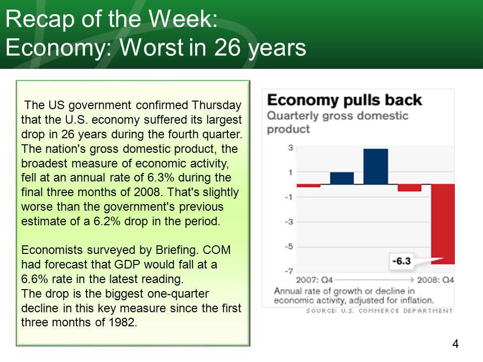 4 Recap of the Week: Economy: Worst in 26 years The US government confirmed Thursday that the U.S. economy suffered its largest drop in 26 years durin